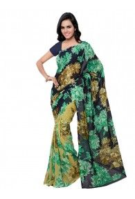 Shonaya Multicolour Georgette Printed Saree With Unstitched Blouse Piece