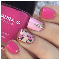 "Who's ready for #Spring  @badgirlnails uses our ""Bubble Gum"" polish to create this pretty mani  #lauragpolish #laurag_143 #notd"