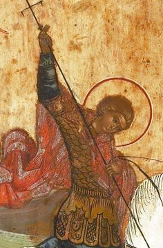 Beautiful icon of Saint George. Religious Icons, Religious Art, Greek Mythology Art, Roman Mythology, Saint George And The Dragon, Archangel Raphael, Russian Icons, Byzantine Art, Art Icon