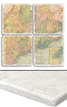 """Maine Map Coaster Set    An impressive collection of marble coasters featuring a beautifully colored map of Maine.   Each Maine coaster measures 4"""" x 4"""", and is constructed of high quality, Botticino tumbled marble.  A perfect gift for weddings, anniversaries, business gifts and any other special event in your life.  Best of all, these Maine coasters are artfully constructed in the USA!     Botticino Tumbled Marble  Each Tile Measures 4""""x4"""""""