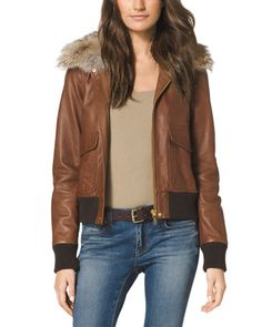 MICHAEL Michael Kors  Fur-Trim Bomber Jacket.