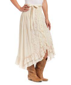Another great find on #zulily! Caramel Ruffle Linen-Blend Maxi Skirt - Women by Pretty Angel #zulilyfinds