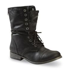 Women's Estie Mid-Calf Black Fold Over Combat Boot - Kmart