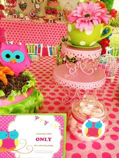 Owl Party with hot pink owls, and flowers in green polka dotted tea cups