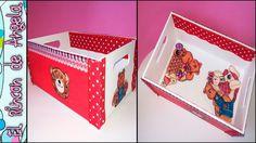 decorar una caja de madera usando pintura chalk paint lazos  decoupage y tela con motivos infant