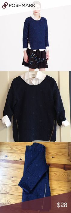 """J Crew Matelasse zip top Sold out in J Crew stores. NOT Factory. Adorable with two bottom zippers, patterned cotton/poly. 3/4 length sleeves. Great to layer or wear alone. Shoulder to hem 25"""". Underarm width 20"""". Can fit medium too. Great shape. Only wore a couple of times. J. Crew Tops"""