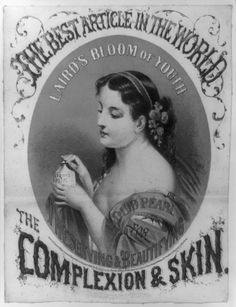 """""""In 1869...Dr. Lewis Sayre, treated three young women who had used Laird's Bloom of Youth [a product that claimed it] beautified tans, freckles, and rough or discoloured skin. It actually disabled three women who had been using approximately a bottle a month for 2-3 years. Their arms were paralysed, and one 21 year old, a woman who was surely too young to need the Bloom of Youth, had hands that 'were wasted to a skeleton.'"""" #FashionVictims #badskincare #notthebestintheworldafterall…"""