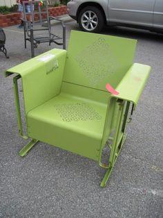 Retro Green Metal Chair Glider Rocker Outdoor Furniture