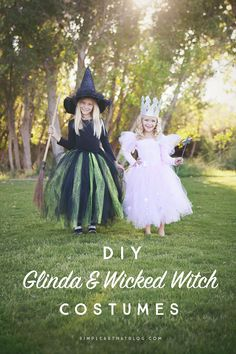 DIY Glinda the Good Witch and Wicked Witch costumes that require little to no sewing! New Halloween board! I'm so excited for Halloween! Glinda Costume, Wicked Witch Costume, Kids Witch Costume, Theme Halloween, Diy Halloween Costumes For Kids, Couple Halloween, Disney Halloween, Little Girl Witch Costume, Halloween Cookies