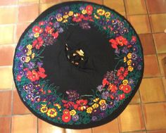 VINTAGE 1950's tel-art MEXICAN NOVELTY BRIGHT FLORAL FULL CIRCLE SKIRT M