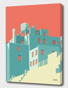 House illustration: The Village» Canvas Print by Remko Heemskerk | Curioos. #illustration #houseillustration #art #artwork Building Illustration, House Illustration, Graphic Design Illustration, Digital Illustration, Landscape Illustration, New York Landmarks, Victorian Architecture, Stairs Architecture, Nyc