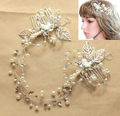 This gold or silver rhinestone crystal and ivory pearl bridal hair vine is very versatile. Hair princess tiara is lightweight and flexible and wear