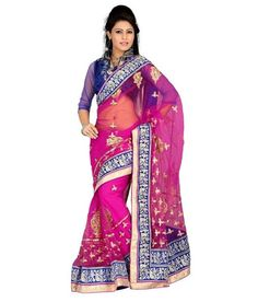 Little India Pink and Purple Georgette Saree Madhuri Dixit, Georgette Sarees, Sarees Online, Purple, Pink, Festive, Bollywood, Sari, India