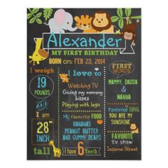 Jungle Party first birthday sign poster