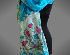 Turquoise silk scarf with Turkish tulips. Hand painted silk scarf with flowers. Bright colors scarf. Ready to ship.
