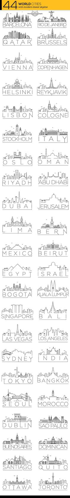 Travel infographic  44 Different World Cities Skyline   CreativeWork247  Fonts Graphics Themes T