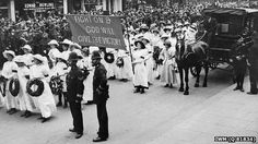 Emily Davison's funeral in Morpeth (pic courtesy of Imperial War Museum).  Emily Davidson was fatally injured when she ran out in front of  horse during he 1913 Epsom Derby
