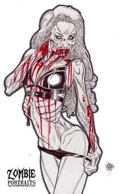 Zombie Art Pinup #234 Romanie Smith Zombie Art by Rob Sacchetto