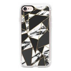 Modern Black and White Marble Geometric with Faux Gold Outline Pattern... (1,840 DOP) ❤ liked on Polyvore featuring accessories, tech accessories, cell phone cases, iphone case, apple iphone case, iphone cell phone cases, gold iphone case, print iphone case and iphone cases