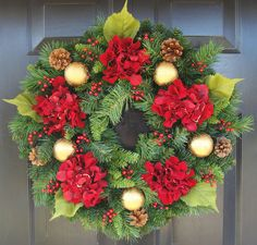 Hydrangea Christmas Wreath, Christmas Decor, Gift for Her, Wreath for Christmas. $75.00, via Etsy.