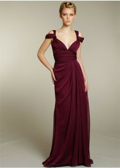 Wine Red Off Shoulder Sleeves A-line Soft Chiffon Evening Dresses
