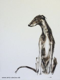 Galgo, Spanish Greyhound, oil on paper, 30 x 40 cm