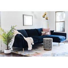 Blue Velvet Sofa Living Room, Navy Living Rooms, Blue Living Room Decor, Living Room Sectional, New Living Room, Living Room Designs, Grey Velvet Sofa, Sofa Design, Living Room Inspiration