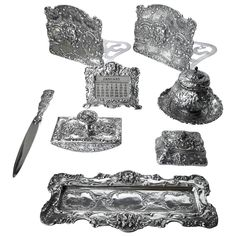 Fantastic and Complete Sterling Desk Set by Marshall Fields, circa 1900