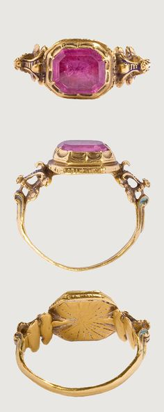 RENAISSANCE GEMSTONE RING. Western Europe, 16th century, gold, tourmaline, bezel 13 x 10 x 5 mm, Octagonal box bezel set with a fine step-cut tourmaline; double crescents on the sides, the joints in the shape of claws to hold the stone; rear of the bezel engraved with rays once filled with white enamel (traces remain). carved in high relief with volutes. Traces of enamel.The tourmaline was thought to heal physical and mental disorders and prevent death.