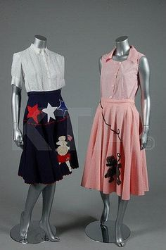 Dresses, 1950s, via Kerry Taylor Auctions. So lovely; the tops look to be exquisitely comfortable true early cotton