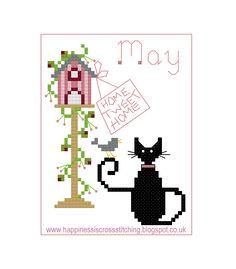 Free May mini cat cross stitch pattern by Lynn B