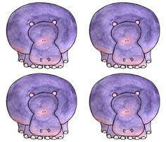 Purple Hippo by ottdesigns on Spoonflower