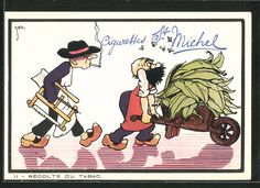 carte postale ancienne: CPA Illustrateur sign.Jean Drapz: Recolte Du Tabak, alter Mann avec einer Schubkarre voller Tabakblätter