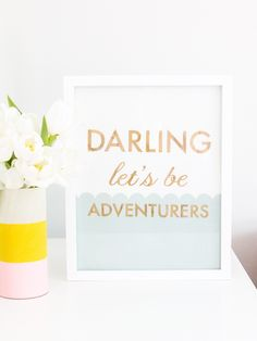 Darling Let's Be Adventurers. This adorable wood cut art piece is a limited edition handmade piece by Sarah Hearts.