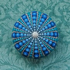 Jewel Drop Mandala Painted Stone Sea Urchin Design painted