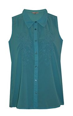a51423be3f5409 LADIES TURQUOISE BLUE SLEEVELESS EMBROIDERED FLORAL CHIFFON BUTTON UP  BLOUSE SHIRT TOP SIZE 10 Jessica G