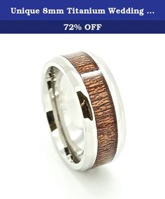 Unique 8mm Titanium Wedding Band with Wood Grain Inlay Size 7.5 (7 1/2). This spectacular wedding band is titanium, combining durability and beauty. The wood grain inlay provide additional detail that makes this ring an attention grabber. The ring is 8mm wide and provides a durable, comfortable style while still portraying elegance and style. This ring is not resizable, but we are more than happy to exchange it for you.30 Day Money Back Guarantee. **PLEASE SELECT YOUR SIZE FROM THE DROP…