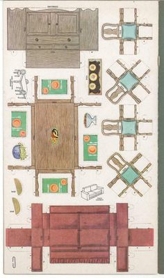 Auctiva Image Hosting Paper Furniture, Doll Furniture, Dollhouse Furniture, Paper Doll House, Paper Houses, Vintage Paper Dolls, Miniature Furniture, Paper Models, Printable Paper