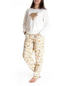 Pijama-Feminino-Lua-Cheia-Longo-Flanelado-Raposa Cute Pijamas, Harem Pants, Pajama Pants, Pumas, Pasta, Comfy, Lingerie, How To Wear, Harvest Moon