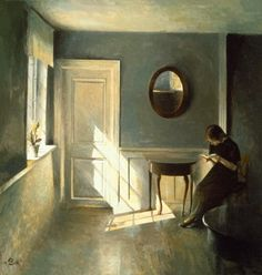 Girl Reading a Letter in an Interior (date?), Peter Vilhelm Ilsted