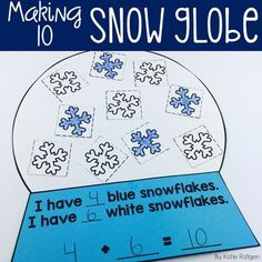 Your students will love showing off their knowledge of making ten with this fun snow globe activity! This resource includes the templates needed to make the snow globe activity shown above. After assembling the snow globe, students will create their Fun Math, Math Activities, Winter Activities, Math Work, Kindergarten Fun, Preschool, Math Crafts, Making Ten, Singapore Math
