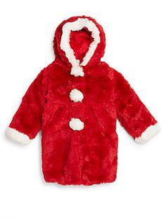 Toddler's & Little Girl's Pom-Pom Faux Fur Coat - SaksOff5th