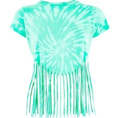 Green Tie Dye Fringed Hem Top (€9,64) ❤ liked on Polyvore featuring tops, shirts, crop top, short sleeve crop top, tie dye shirts, summer tops, blue top and boho tops