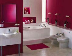 Bathroom Color Ideas All About Home Design Idea Small Bathroom Interior, Bathroom Red, Modern Bathroom Design, Bathroom Ideas, Bathroom Designs, Colorful Bathroom, Small Bathrooms, Simple Bathroom, Chinese Bathroom