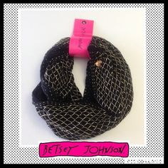 BETSEY JOHNSON Black infinity scarf NWT BETSEY JOHNSON Black infinity scarf with gold thread.  94% Acrylic, 4% Polyester, 2% Metallic. NWT Betsey Johnson Accessories Scarves & Wraps