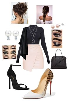 """""""classy business date✨"""" by angeliqueamor on Polyvore featuring Ivy Park, Yves Saint Laurent, Christian Louboutin, Forever 21, Kate Spade and PearLustre by Imperial"""