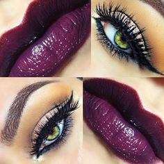 """""""PlumpItUp!"""" - adore this gorgeous purple plum lip with a copper tone on eyelid and a orange base atop crease and under brow."""