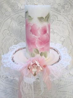 PILLAR Candle Shabby Chic WHITE 6 Hand Painted by RoseChicFriends, $13.99