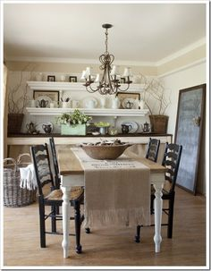 39 Amazing Shabby Chic Dining Room Design: 39 Amazing Shabby Chic Dining Room Design With Wooden Dining Table And Black Chair And Chandelier And Wooden Wall Cabinet And Floor Design Country Chic Decor, Country Style, Country Life, Rustic Decor, Rustic Table, Country Charm, Rustic Charm, Wood Table, Country Living