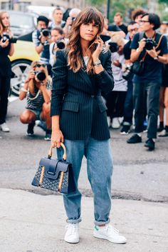 Tags Jeans, Miroslava Duma, Adidas, Stan Smith, Women, Cellphones, Bags, Goyard, Blazers, New York, Pinstripes, SS16 Women's